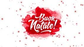 Italian happy christmas text design over red watercolor splash