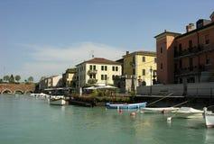 Italian Harbour. Pescheira at Garda Lake Stock Images