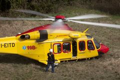 The italian helicopter of the public rescue service 118 stock image