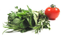 Italian herbs and tomato Royalty Free Stock Photo