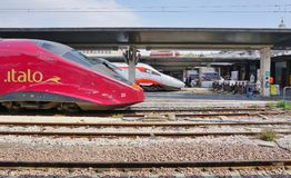 An Italian high speed train at the Venice station. VENICE, ITALY -29 APRIL 2015- Trenitalia high speed trains (Italo, Frecciargento, Frecciarossa and Royalty Free Stock Images