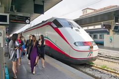 An Italian high speed train at the Venice station Royalty Free Stock Photo