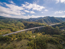Italian highway, aerial view. Italian highway Florence-Bologna, aerial view royalty free stock images