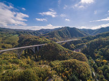 Italian highway, aerial view. Italian highway Florence-Bologna, aerial view Stock Photo