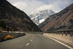 Italian highway to mont blanc Stock Photos