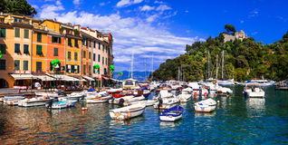 Italian holidays - beautiful colorful town Portofino in Liguria royalty free stock images
