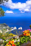 Italian holidays - Capri island, view with Faraglioni rocks Royalty Free Stock Images