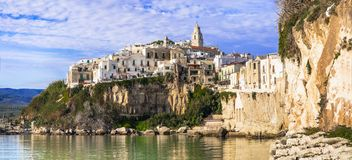 Italian holidays- picturesque coastal town Vieste in Puglia stock photography