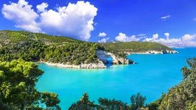 Italian holidays in Puglia - Natural park Gargano with beautiful turquoise sea. Impressive Natural Park Gargano,panoramic view,Puglia,Italy stock photo