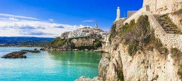 Italian holidays, picturesque coastal town Vieste,Puglia. royalty free stock image