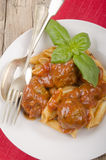 Italian home made meatballs and pasta Stock Image