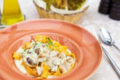 Italian homemade Pappardelle Pasta with mushrooms Stock Images