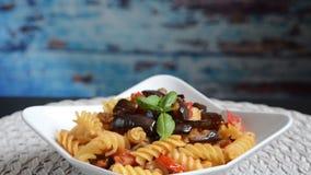 italian homemade pasta called `pasta alla norma` stock footage