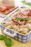Italian homemade pasta with tomato sauce, basil and parmesan che Royalty Free Stock Image