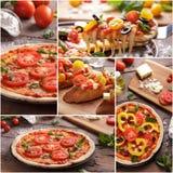 Italian homemade pizza with sliced tomato topping. Collage portrait of italian homemade pizza with sliced tomato topping Royalty Free Stock Photo