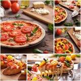 Italian homemade pizza with sliced tomato topping. Collage portrait of italian homemade pizza with sliced tomato topping Royalty Free Stock Images