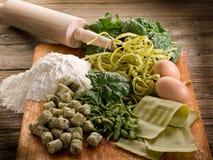 Italian homemade spinach pasta Stock Photo