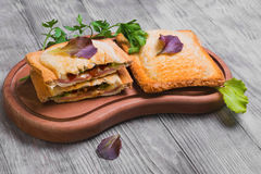 Italian hot crispy toasted panini sandwiches Stock Photo