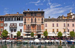 Italian hotel houses by the water. Stock Images