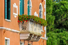 Italian house with flowers on terrace Royalty Free Stock Image
