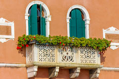 Italian house with flowers on terrace Stock Image
