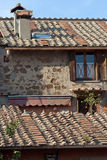 Italian house in ostia. View of the roof and wall of an Italian house in Ostia, rome Royalty Free Stock Photo