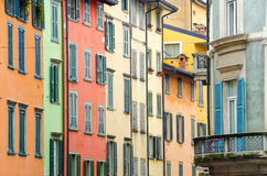 Italian houses with colorful walls and windows in Bergamo Stock Photography