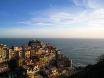 Italian houses on the hill at Manarola Royalty Free Stock Photography