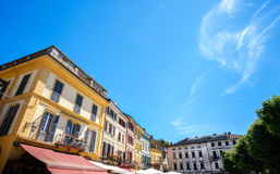 Italian houses wide angle sky background copyspace buildings Royalty Free Stock Image