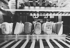 Black and white ice cream cone italian store Stock Images