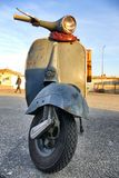Italian iconic vintage Vespa scooter parked handlebars close up. Italian iconic vintage Vespa scooter parked close up Turin Italy November 16 2017 Stock Image
