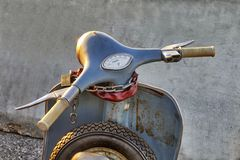 Italian iconic vintage Vespa scooter parked handlebars close up. Turin Italy November 16 2017 Royalty Free Stock Image