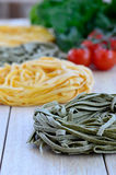 Italian Ingredients: Tagliatelle pasta Royalty Free Stock Images