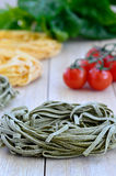 Italian Ingredients: Tagliatelle pasta Royalty Free Stock Photo