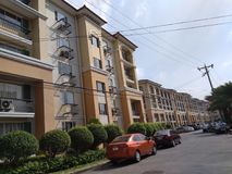 Italian inspired midrise condominium. Not so tall condominiums in Metro Manila. Just right stock images