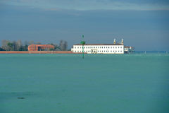 Italian island San Servolo. In the Venetian Lagoon, Venice International University Royalty Free Stock Photo