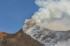 Spectacular Volcano Etna eruption ,Sicily , Italy Royalty Free Stock Images