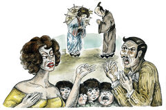 Italian and Japanese families. Comic illustration Stock Photography