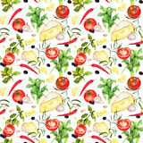 Italian kitchen repeating cooking background. Watercolour vegetables Stock Photos
