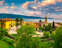Italian lake houses with stunning view on Lake Garda Stock Images