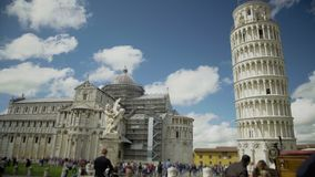 Italian landmarks, Fountain with Angels, cathedral and Leaning Tower of Pisa. Stock footage stock video footage