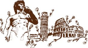 Italian Landmarks illustration Royalty Free Stock Images