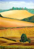 Italian landscape. Picturesque farmland in Tuscany, Italy. Hand painted illustration