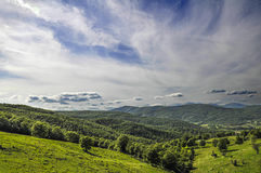Italian landscape with hills and clouds Stock Photos