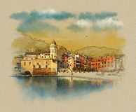 Italian landscape in the resort town of Vernazza, Cinque Terre, Italy. Watercolor sketch, illustration. Royalty Free Stock Photography