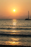 Italian landscape. Sunset and sea in Sicily Stock Photography