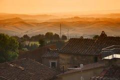 Italian landscape Tuscany. Tuscany Italian landscape colors sunset sky stock image