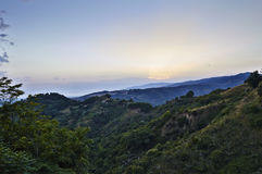 Italian Landscapes Calabria. Tiriolo the land of two seas, view of the hills towards the Tyrrhenian Sea and St. Peter the Apostle, Tiriolo in the province of Stock Images