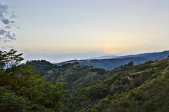 Italian Landscapes Calabria. Tiriolo the land of two seas, view of the hills towards the Tyrrhenian Sea and St. Peter the Apostle, Tiriolo in the province of Stock Photography