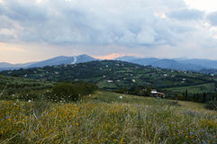 Italian Landscapes Campania. Classic landscape of the hills in front of the mountains by the Sannio and the Matese, in the village of Squille in the province of Royalty Free Stock Photos